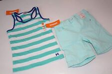 Gymboree Bright and Beachy Girls Size 5 Stripe Top Shirt 5T Denim Shorts  NWT