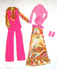 Francie, Becky Fashion Pink Pantsuit/Vest, Floral Skirt For Becky Doll fn361
