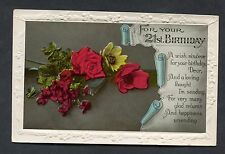 "C1930's 21st Birthday Card - Roses ""Happiness Unending"""