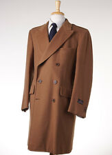NWT $4495 D'AVENZA Camel Tan Double-Breasted Polo Coat 40 R (Eu 50) Overcoat
