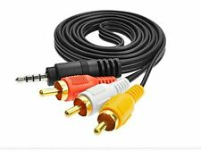 3.5mm Stereo to 3-RCA Male Plugs AV Audio Video Cable Suitable for MP3/DVD/HDTV