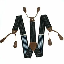 Fashion Men's Fitting Button Holes Suspenders Braces Adjustable Leather BD758