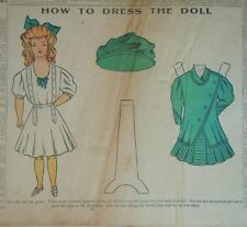 "1908 Boston Sunday Globe - 8 1/2"" Paper Doll w Costume & Hat - Uncut in Paper"