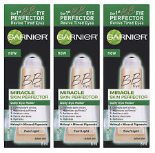 3 Garnier Miracle Skin Renew BB Cream Daily Eye Roller Perfector Fair/Light .27z