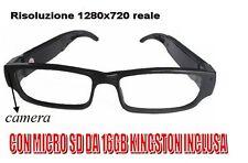 OCCHIALI VISTA SPIA HD 1280X720 SPY CON MICRO SD 16 GB TELECAMERA OCCULTATA SPIA