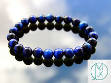 Blue Tigers Eye Dyed Natural Gemstone Bracelet 7-8'' Elasticated Healing Stone