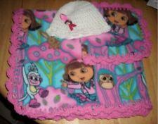 Dora the explorer crocheted fleece baby blanket with Hat, burp cloth