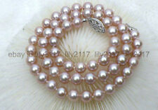 AAA+ 7-8mm round lavender pink akoya pearls necklace solid 14k Inch