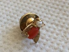 STUNNING RARE ART DECO 14ct GOLD CORAL AND SEED PEARL BEAUTIFUL  BUG PIN.