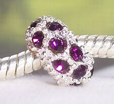 February Birthstone Dark Purple Rhinestone Bead for European Charm Bracelets