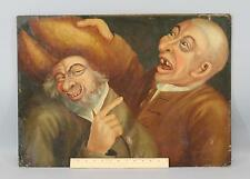 Antique 18thC English Life-Size Folk Art Caricature Humorous Satire Oil Painting