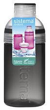 Sistema Negro Trío Botella Agua Para Beber 480ml sin BPA Tapa De Rosca