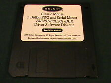 Belkin Classic Mouse 3 Button PS/2 Serial Driver Software Diskette F8E201 Disc
