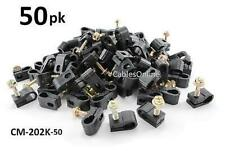 50-PACK Black Single Grip-Clip Screw In Cable Clamp Clip Holders - CM-202K-50