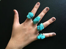 Ring Big Silver Turquoise Hippie Boho Gypsy Tribal Belly Dance Bohemian Festival