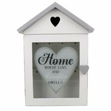 White Shabby Chic Home House Shaped Key Box Cabinet with Heart Cutout Glass Door