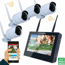 "Wireless  10"" TFT WIFI 4CH 960P HD DVR Video Home Digital Camera Security System"