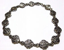 IRISH IRELAND VINTAGE CLADDAGH CELTIC KNOT STERLING SILVER WOMENS BRACELET 7.5""