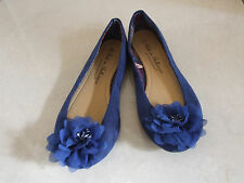 Atmosphere Gorgeous Royal Blue Ballerinas Shoes Decorative Flowers UK 6 / EU 39