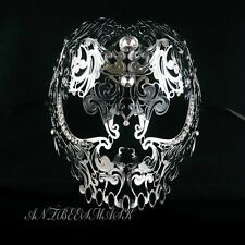 Silver Evil Skull Light Metal Laser Cut Diamond Venetian Masquerade Mask