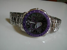 SILVER/PURPLE  3D LARGE BRACELET OVERSIZED HEAVY FASHION WATCH