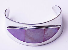 STRIKING SILVER TONE WIDE BANGLE EYE-SHAPED MAUVE NACRE DETAIL CHIC (ZX21)