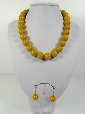 Lee Sands Chunky 16mm Yellow Calcite Necklace w Earring set