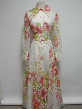 Vintage COCO Maxi Dress Size L White Floral Long Sleeve Polyester 1977-89