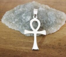 925 argento Sterling-Luce ANKH CROCE PENDENTE - 28mm Altezza
