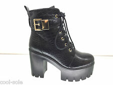 LADIES WOMENS BLACK ANKLE HIGH CHUNKY HIGH HEEL PLATFORM BOOTS SHOES SIZE 6