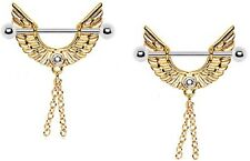 Nipple Shield Rings barbell Gold Plated Angel Wing  Chains  pair 14 gauge