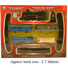 AZ 2m CLASSIC TOY TRAIN SET TRACK BATTERY OPERATED CARRIAGES LIGHT&SOUND 1577