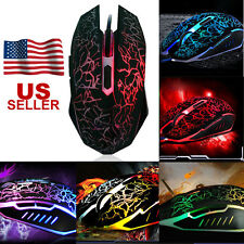 Professional Colorful Backlight 4000DPI Optical Wired Gaming Mouse Mice for PC