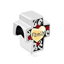 Silver & Gold Plated Family Cross Charm Fit For European Charm Bracelets