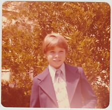 Square Vintage 70s PHOTO Young Boy Outdoors In Suit