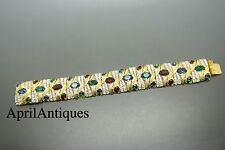 Vintage Sphinx red green rhinestones jewelled gold-tone moghul bracelet