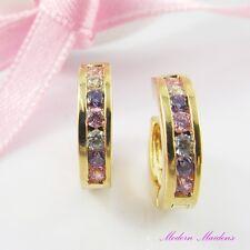 18k Gold GF Pink Clear Purple Cubic Zirconia Huggie Hoop Earrings