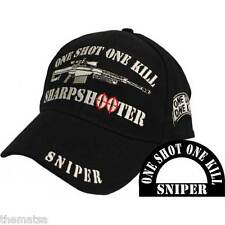 ONE SHOT ONE KILL SHARPSHOOTER SNIPER EMBROIDERED BLACK MILITARY    HAT CAP