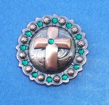 "Western Equestrian Tack Copper Plated Cross (2) 1 1/2"" Concho's W/Crystals"