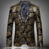 Luxury Mens Floral Lapel Slim Fit High Quality Stylish Formal Blazer Gold Coats