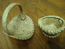 Two Ceramic Baskets Shades of Brown