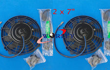 "TWO  7"" 12V Reversible ELECTRIC Thermo COOLING FAN + MOUNTING KITS 7 Inch 2 PCS"