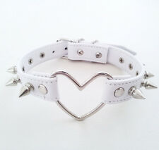 Sexy Handmade Large Big Heart Choker Stud Spikes Leather Punk Collar Necklace