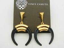 $48 Vince Camuto *Summer Horn* Black Crescent Drop Earrings Goldtone Metal