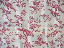 COUPON STYLE TOILE A MATELAS RAYURES BEIGES OISEAUX ROUGES  - J 82/3