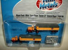 classic metal N scale WAYNE FEEDS WHITE TRUCK & TRAILER