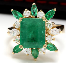 5.05Ct Natural Emerald & Diamond 14K Solid White Gold Ring