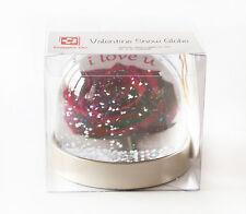Valentines Day Snow Globe, red rose, ' i love u' Text