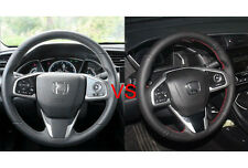 Genuine Leather Steering Wheel Cover for Honda Civic 2016 Red String DIY Stitch