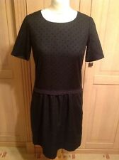 BEAUTIFUL LUELLA BLACK SPOTTY DROP WAISTED DRESS UK SIZE 12 (NO TAG) WORN